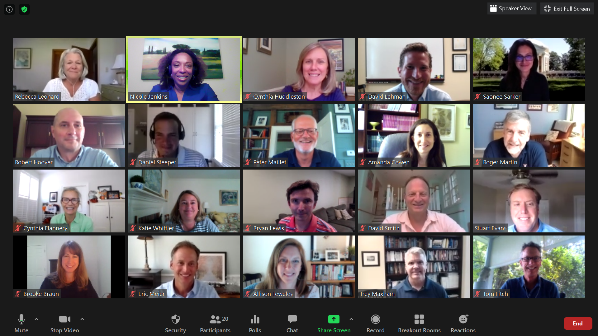 Commerce School staff and faculty leaders on a Zoom gallery view